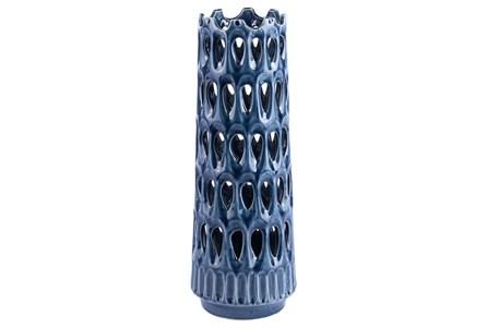 Large Punch Throuh Blue Vase