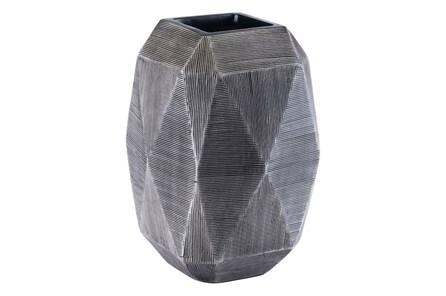 Large Round Faceted Grey Vase - Main