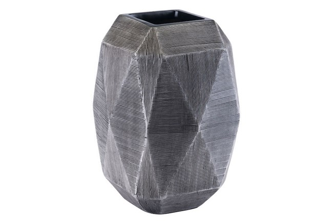 Large Round Faceted Grey Vase  - 360