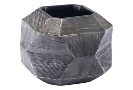 Medium Round Faceted Grey Vase