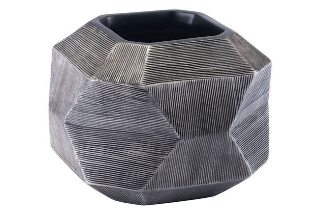 Medium Round Faceted Grey Vase  - 360