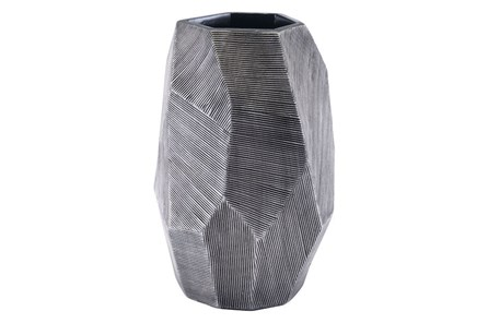 Small Round Faceted Grey Vase - Main