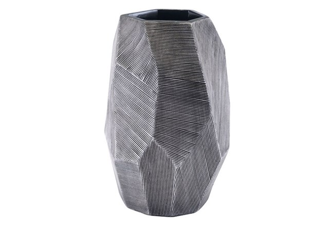 Small Round Faceted Grey Vase  - 360