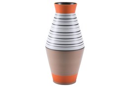 Large Tribal Multicolor Orange Vase