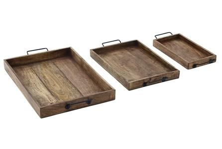 Set Of 3 Wood + Metal Trays - Main