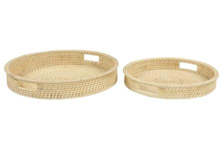 Set Of 2 Round Rattan Trays
