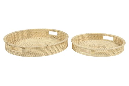 Set Of 2 Round Rattan Trays