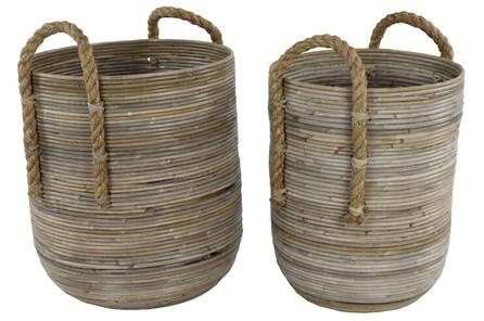 Set Of 2 Teak Baskets