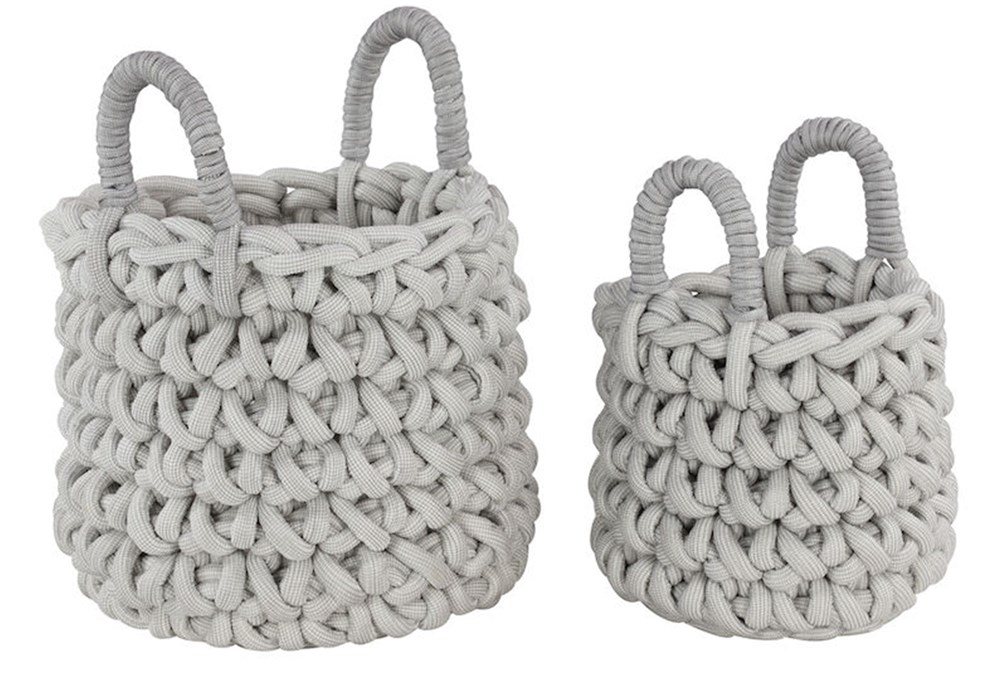 Set Of 2 White Knotted Baskets