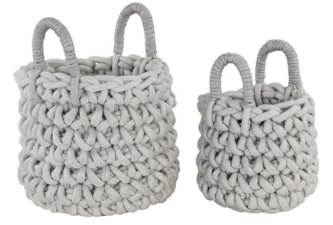 Set Of 2 White Knotted Baskets  - 360