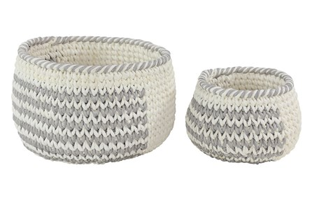 Set Of 2 Round Grey And White Baskets