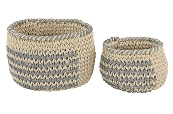 Set Of 2 Grey And Natural Baskets