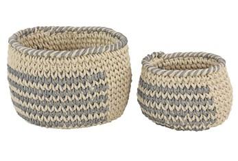 Set Of 2 Grey And Natural Baskets