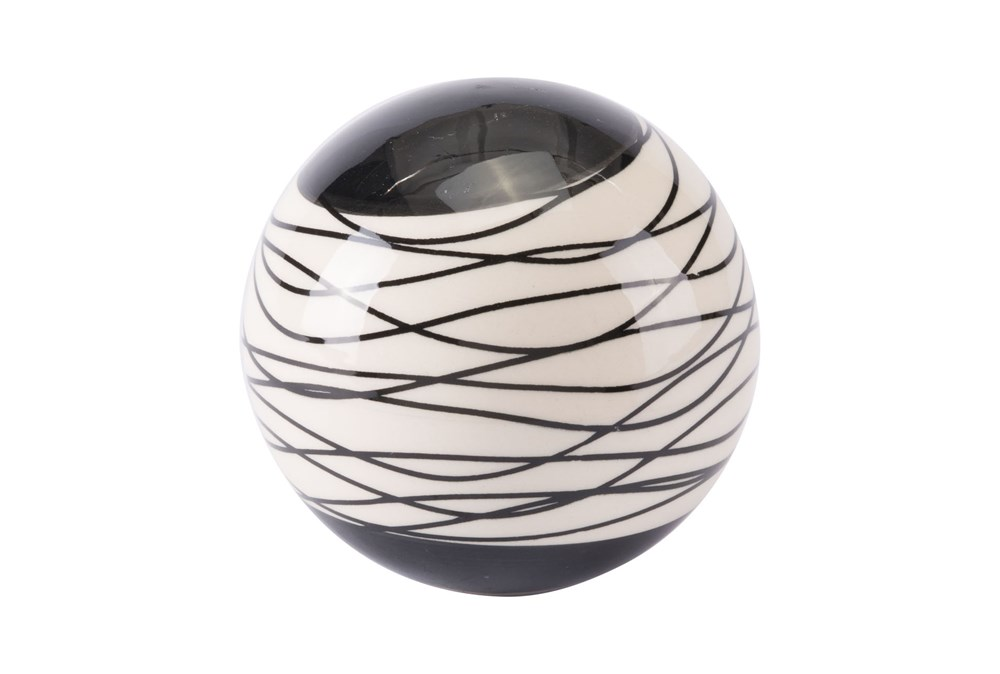 Small Black + Ivory Striped Orb