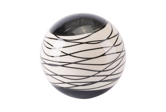 Small Black + Ivory Striped Orb  - 360