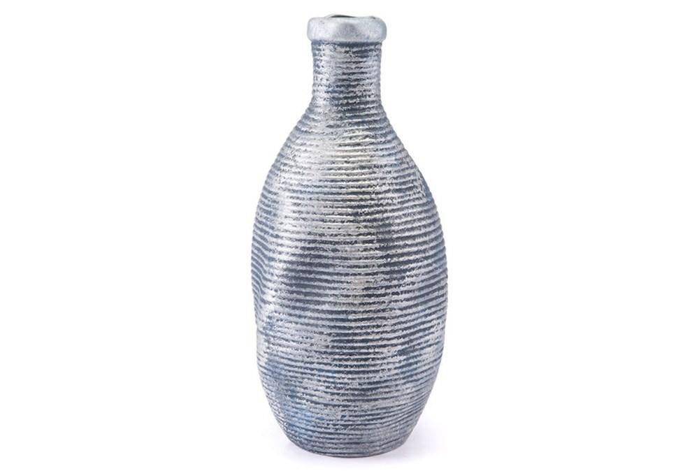 Large Ribbed Blue + Silver Vase