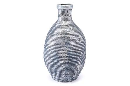 Medium Ribbed Blue + Silver Vase - Main