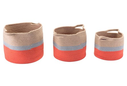 Set Of 3 Red + Tan Round Woven Baskets
