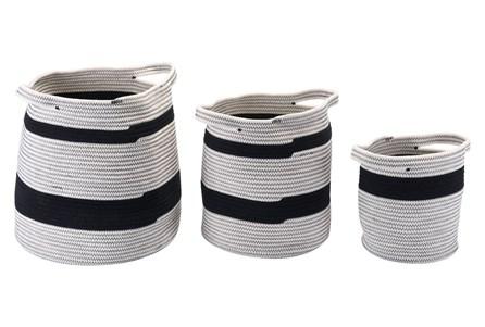 Set Of 3 Round Black + Grey Woven Baskets