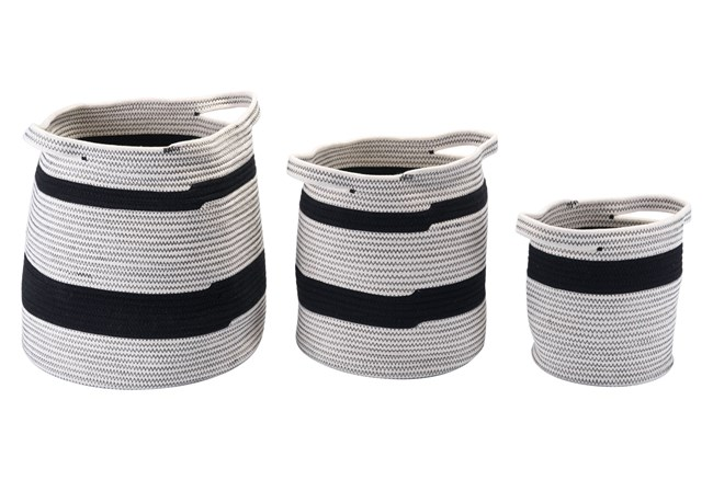 Set Of 3 Round Black + Grey Woven Baskets  - 360