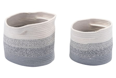 Set Of 2 Round Grey + White Multicolor Baskets