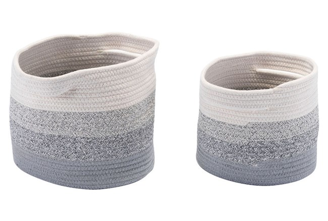 Set Of 2 Round Grey + White Multicolor Baskets  - 360