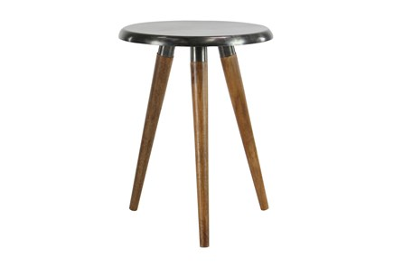 Metal and Wood Round Accent Table - Main