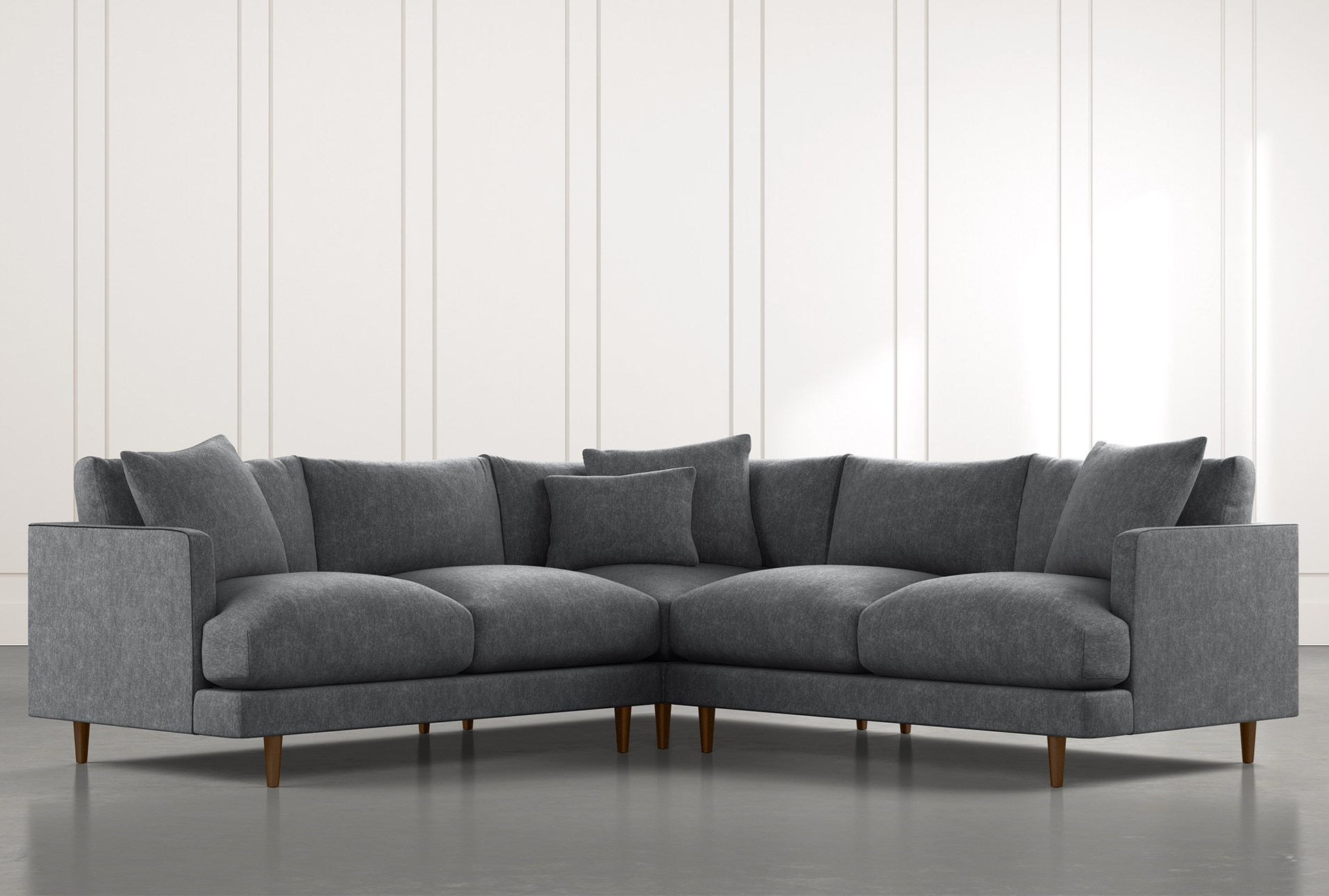 Adeline II Dark Grey 3 Piece Sectional | Living Spaces
