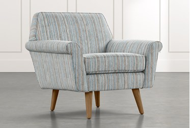 Patterson III Light Blue Striped Accent Chair