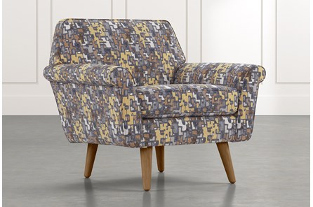 Patterson III Yellow Geometric Accent Chair