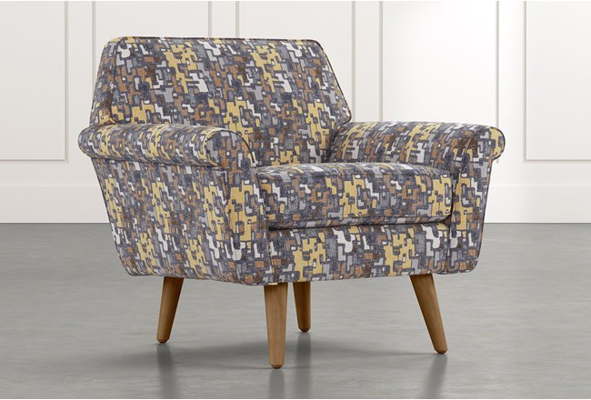 Patterson III Yellow Geometric Accent Chair - 360