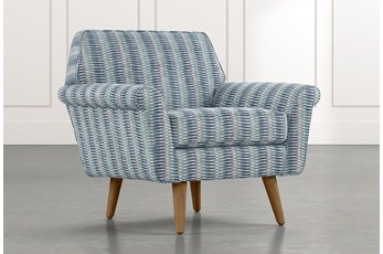Patterson III Blue Striped Accent Chair