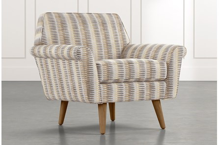Patterson III Beige Striped Accent Chair