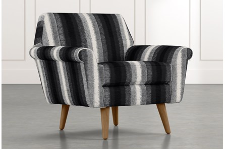 Patterson III Black Striped Accent Chair