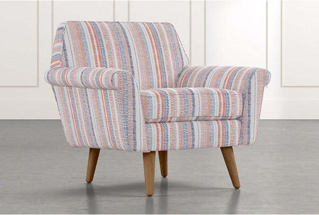 Patterson III Red Striped Accent Chair - 360