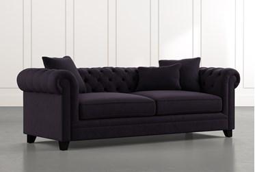 "Patterson III 94"" Black Sofa"