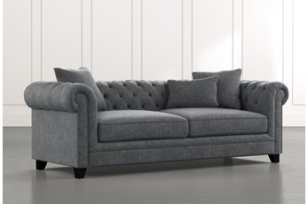 "Patterson III 94"" Dark Grey Sofa"