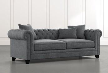 "Patterson III 94"" Dark Grey Sofa"