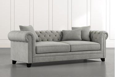 "Patterson III 94"" Light Grey Sofa"