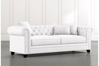 "Patterson III 94"" White Sofa"