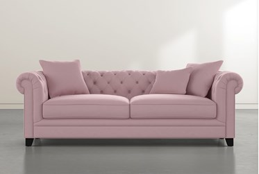 "Patterson III 94"" Pink Velvet Sofa"