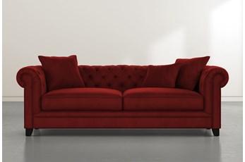 """Patterson III 94"""" Burgundy Velvet Sofa"""