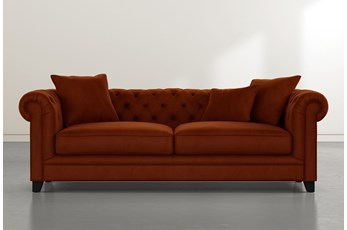 "Patterson III 94"" Orange Velvet Sofa"