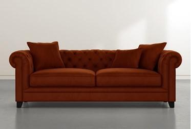 "Patterson III 94"" Orange Velvet Sofa"