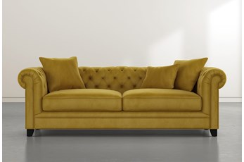 "Patterson III 94"" Gold Velvet Sofa"