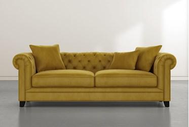 """Patterson III 94"""" Gold Velvet Sofa"""