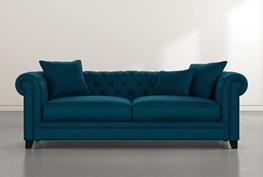 """Patterson III 94"""" Teal Blue Velvet Sofa"""