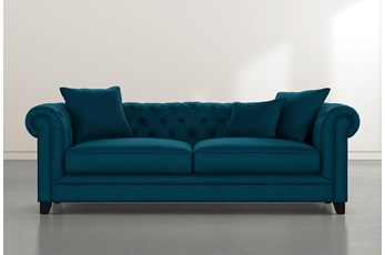 "Patterson III 94"" Teal Blue Velvet Sofa"