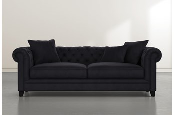 "Patterson III 94"" Dark Grey Velvet Sofa"