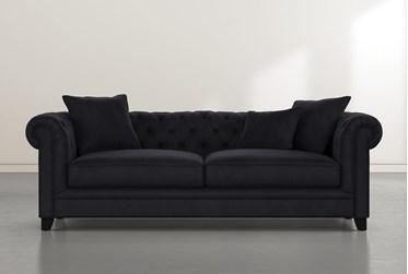 "Patterson III 94"" Dark Grey Velvet Sofa"